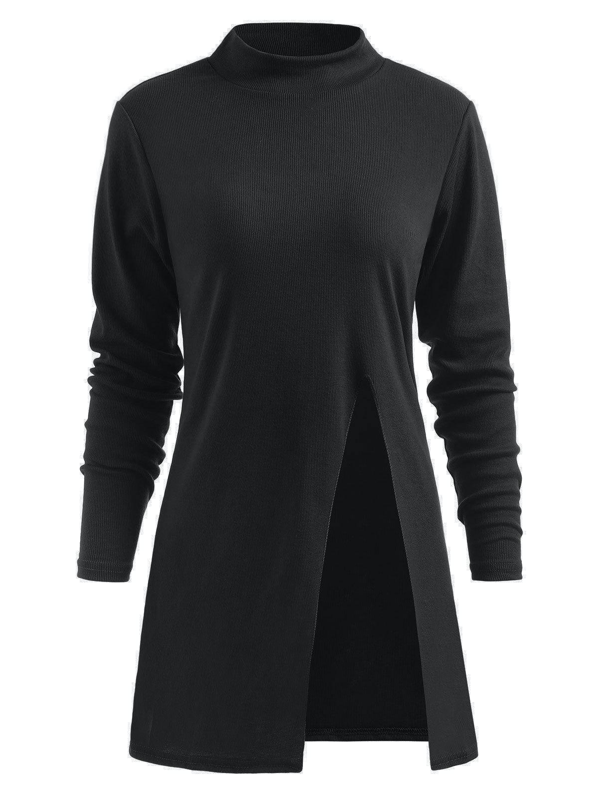 Trendy Side Slit Mock Neck Pullover Sweater