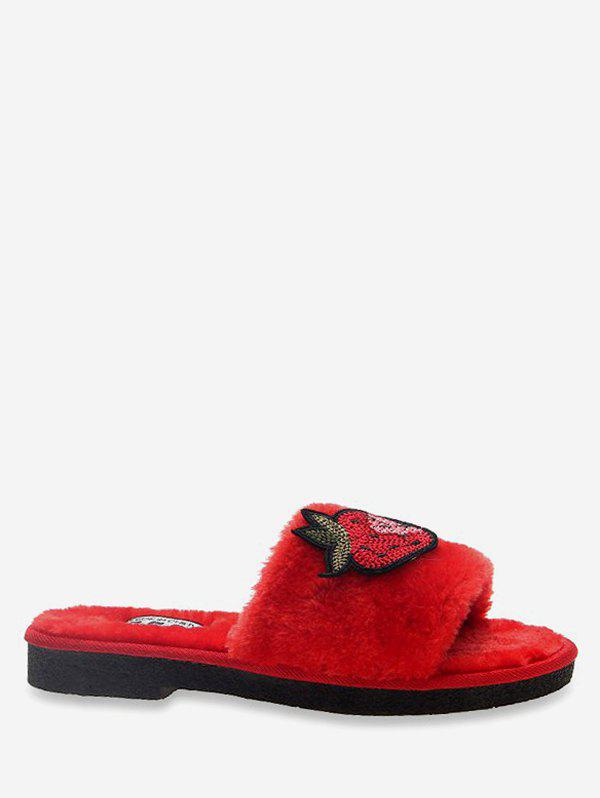 Outfit Strawberry Embroidered Plush Slippers