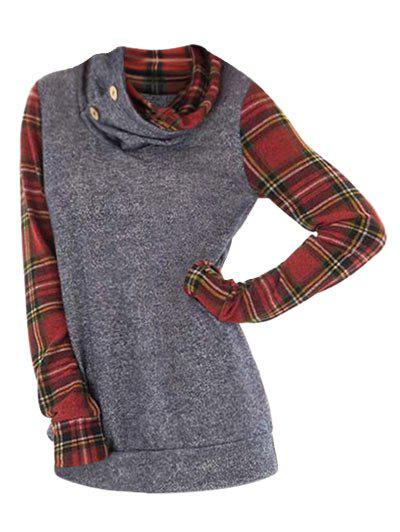 New Cowl Neck Plus Size Plaid Sleeve Sweatshirt