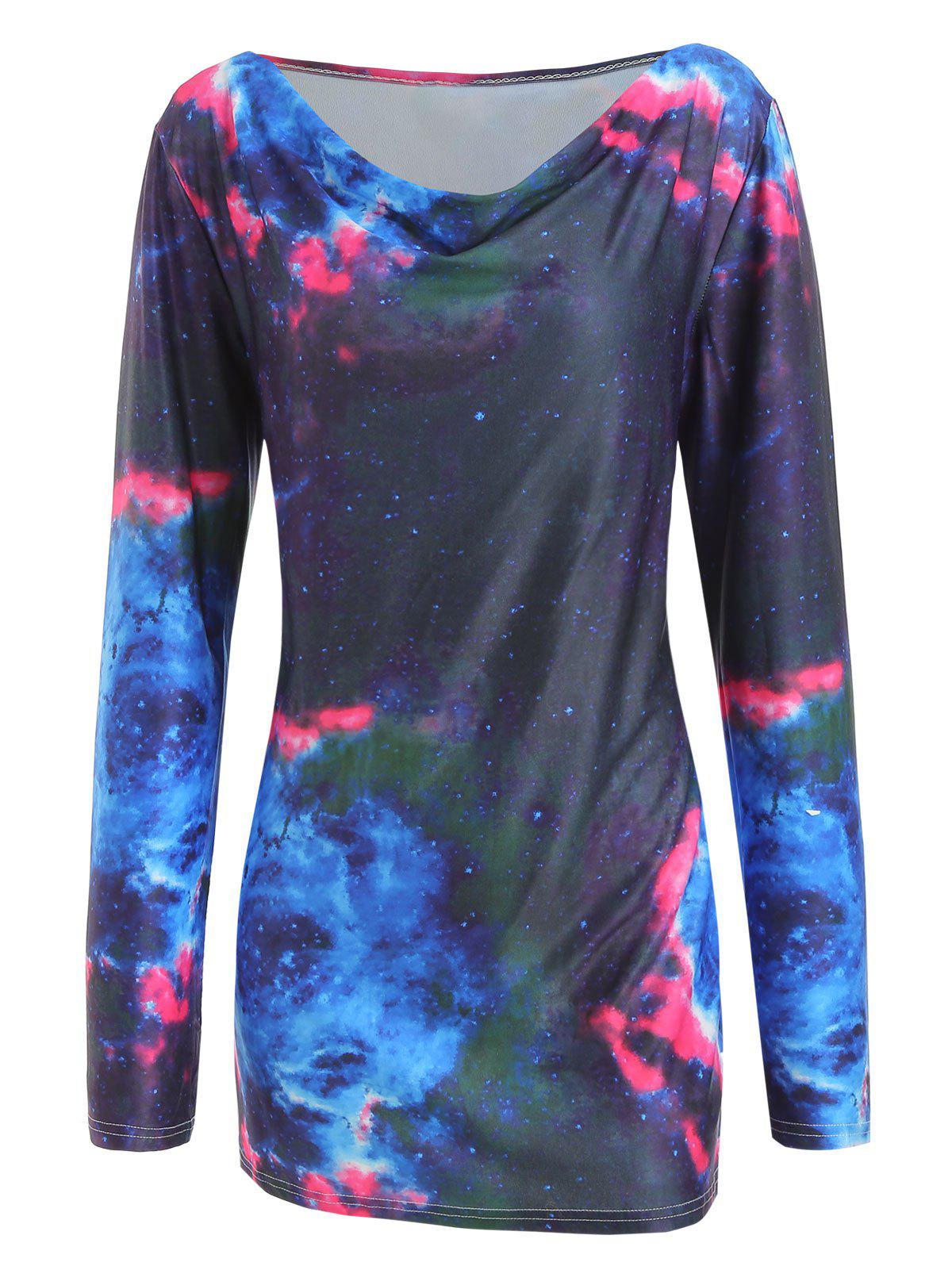 Outfit Galaxy Print Plus Size Cowl Neck T-shirt