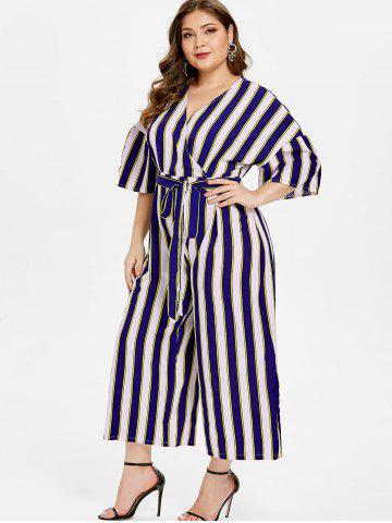 6aac4ed8711 V Neck Plus Size Striped Panel Jumpsuit with Belt