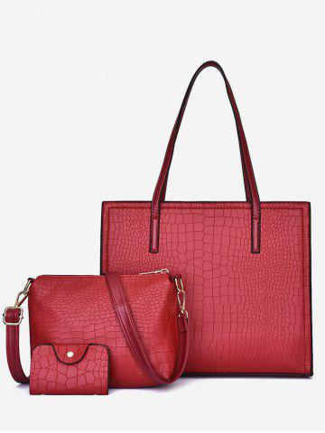 Simple Style Striped Leather Bag Set