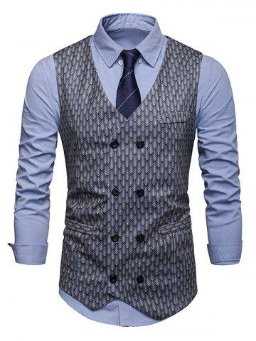 Fish Scale Print Double Breasted Waistcoat
