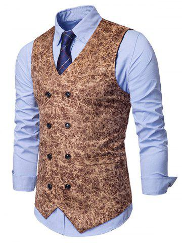 Printed Double Breasted Faux Pockets Embellished Waistcoat