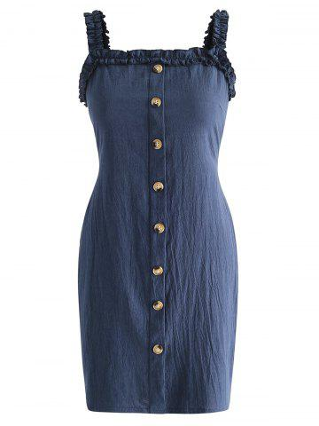 Buttons Back Tie Cut Out Dress