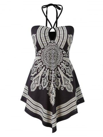 Plus Size Halter Tribal Print Tank Top