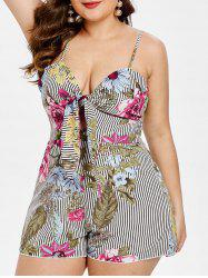 Bowknot Embellished Plus Size Floral and Striped Print Romper -