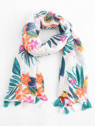 Tassel Design Leaf Pattern Scarf -