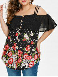 Plus Size Spaghetti Strap Open Shoulder Floral Ruffled Blouse -