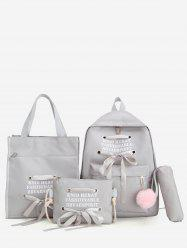 Fuzzy Ball Pendant Ribbon Bowknot Four Pieces Backpack Set -