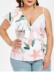 Floral Print Plus Size Ruffle Trim Tank Top -