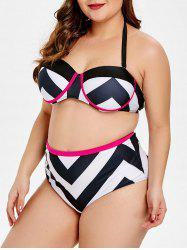 Geometric Print Plus Size Underwire Bikini Set -