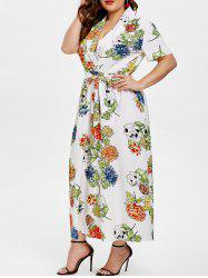 Lapel Neck Plus Size Floral Print Dress with Belt -
