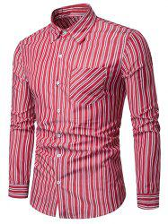 Vertical Stripe Print Long Sleeve Casual Shirt -