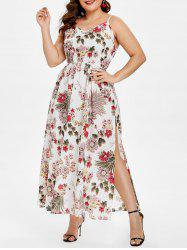 Belted Plus Size Floral Print Slip Dress -