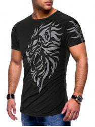 Breathable Tattoo Printed Casual Short Sleeves T-shirt -