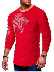 Long Sleeves Tattoo Print Casual T-shirt -