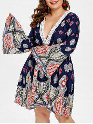 Flare Sleeve Plus Size Printed Shift Dress -