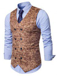 Printed Double Breasted Faux Pockets Embellished Waistcoat -