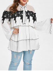 Plus Size Tie Collar Hollow Out Blouse -