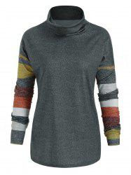 Striped Turtle Neck Long Sleeve Top -