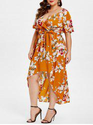 Floral Print Plunge Plus Size High Low Dress -