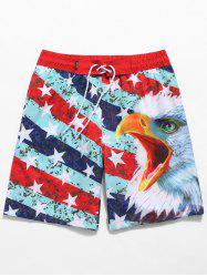 American Flag Print Drawstring Beach Shorts -