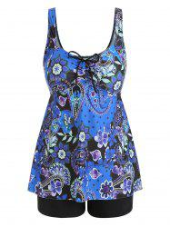 Plus Size Flower Tankini Sets -