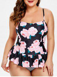 Floral Plus Size Peplum Striped Tankini Set -