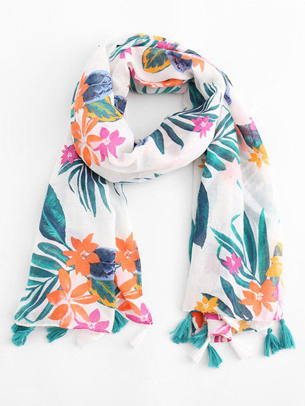 Fashion Tassel Design Leaf Pattern Scarf