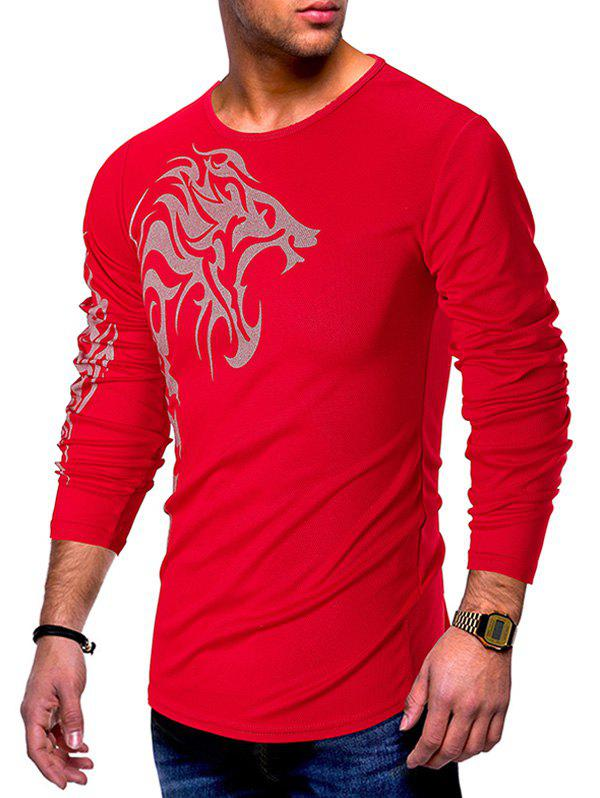 Affordable Long Sleeves Tattoo Print Casual T-shirt