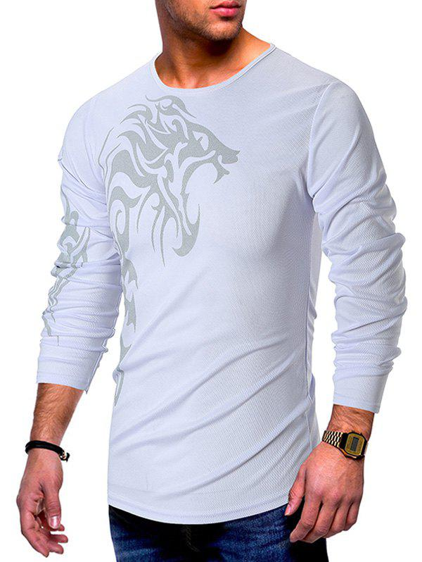 Shop Long Sleeves Tattoo Print Casual T-shirt