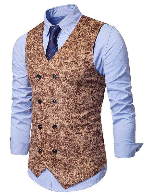 Shops Printed Double Breasted Faux Pockets Embellished Waistcoat