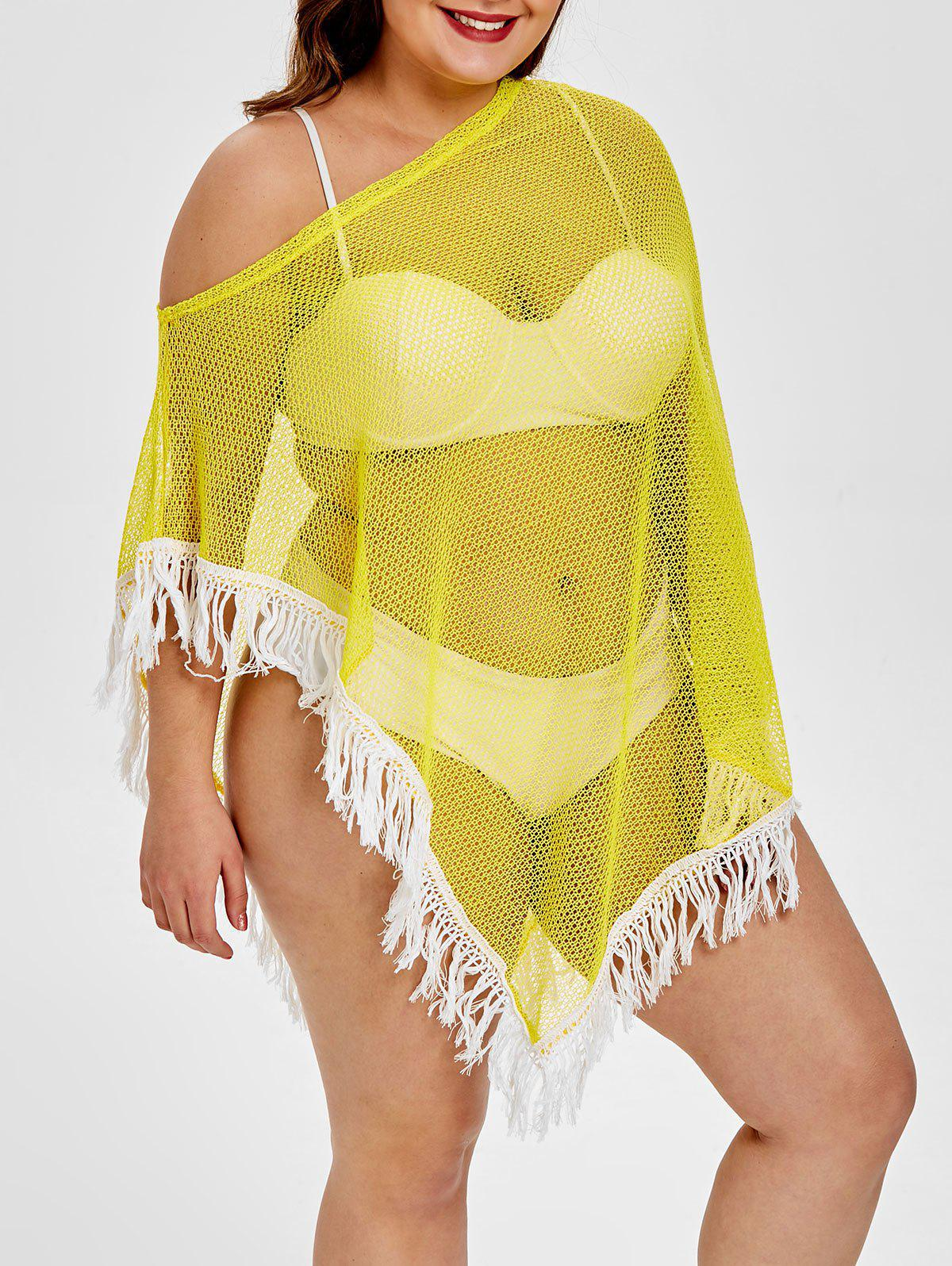 683e0a4d767 26% OFF] Sheer Knit Plus Size Fringed Cover Up | Rosegal