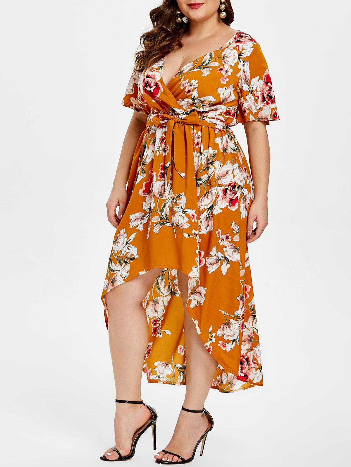 Best Floral Print Plunge Plus Size High Low Dress
