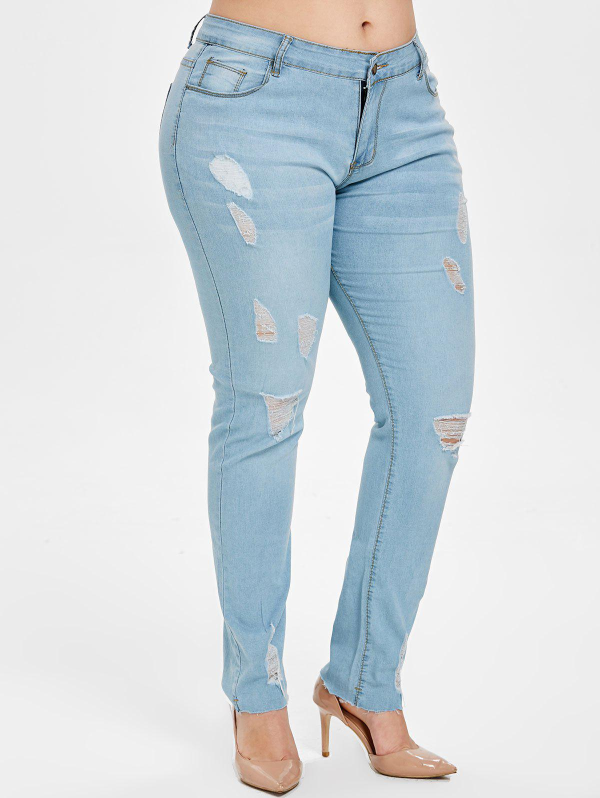 8a14c9cef8 49% OFF] Light Wash Plus Size Ripped Pencil Jeans | Rosegal