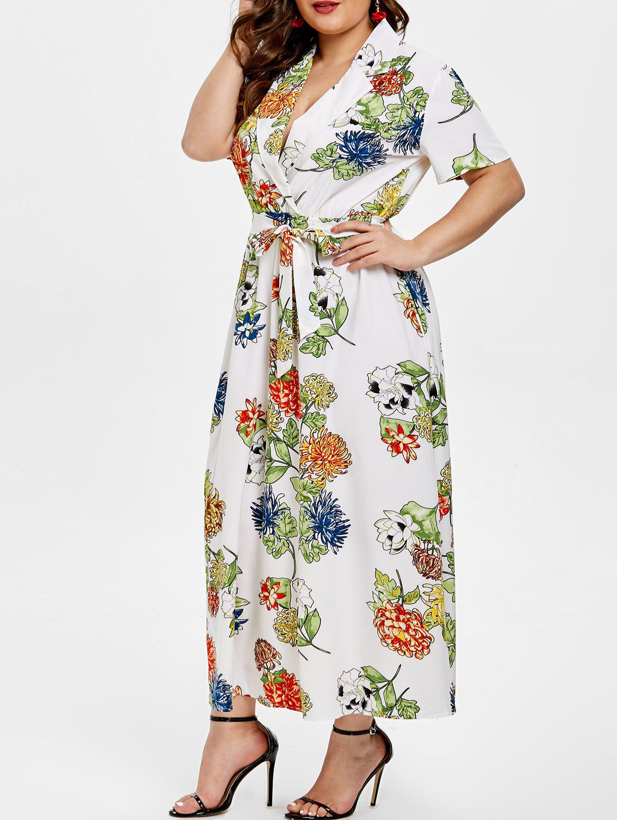 Chic Lapel Neck Plus Size Floral Print Dress with Belt