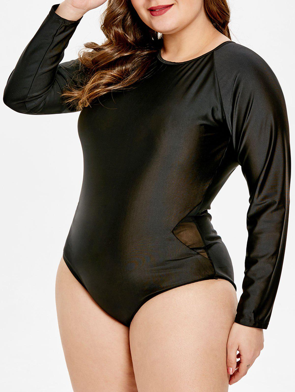 Buy Backless Plus Size Long Sleeve Swimsuit