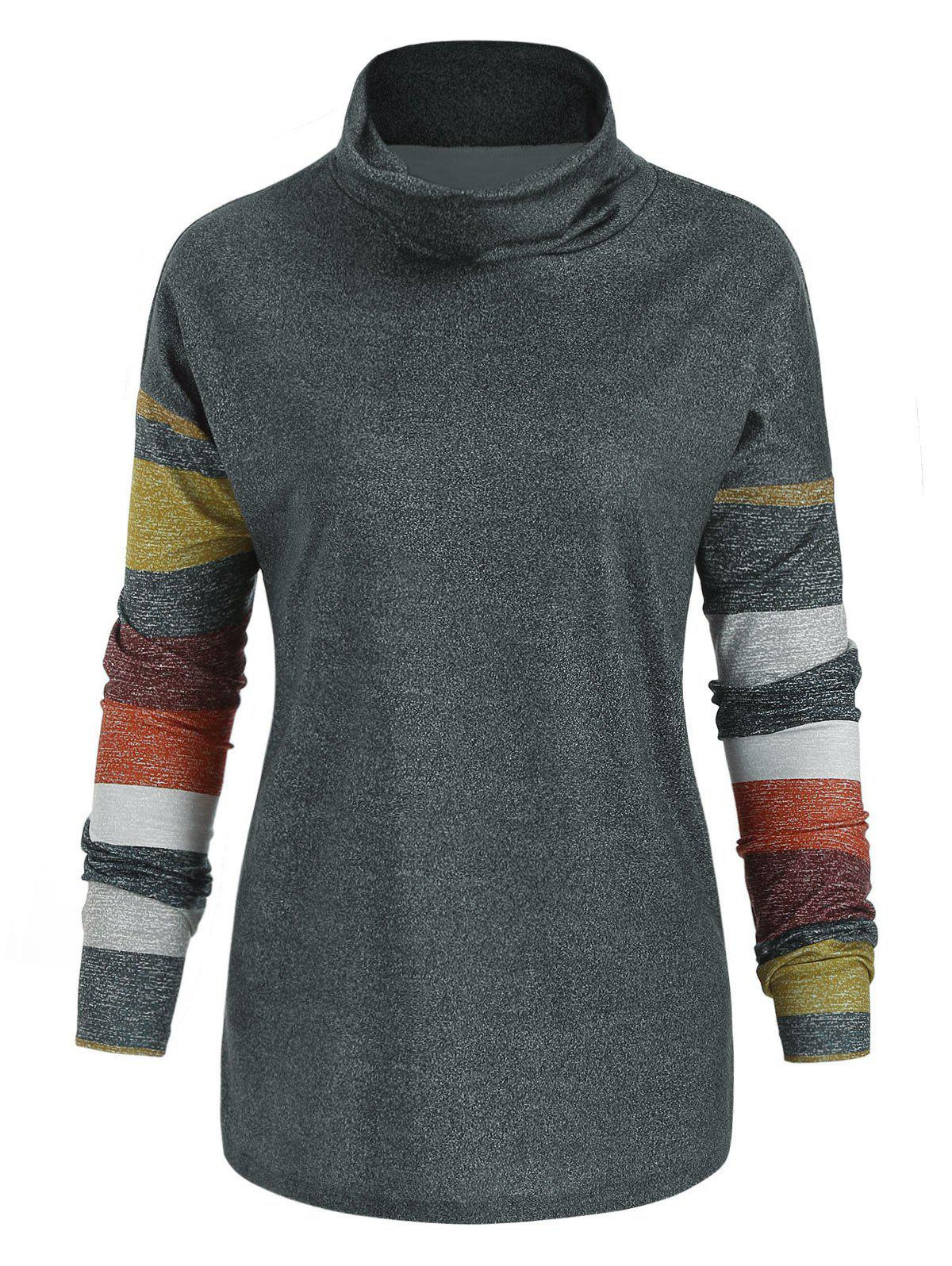 Online Striped Turtle Neck Long Sleeve Top