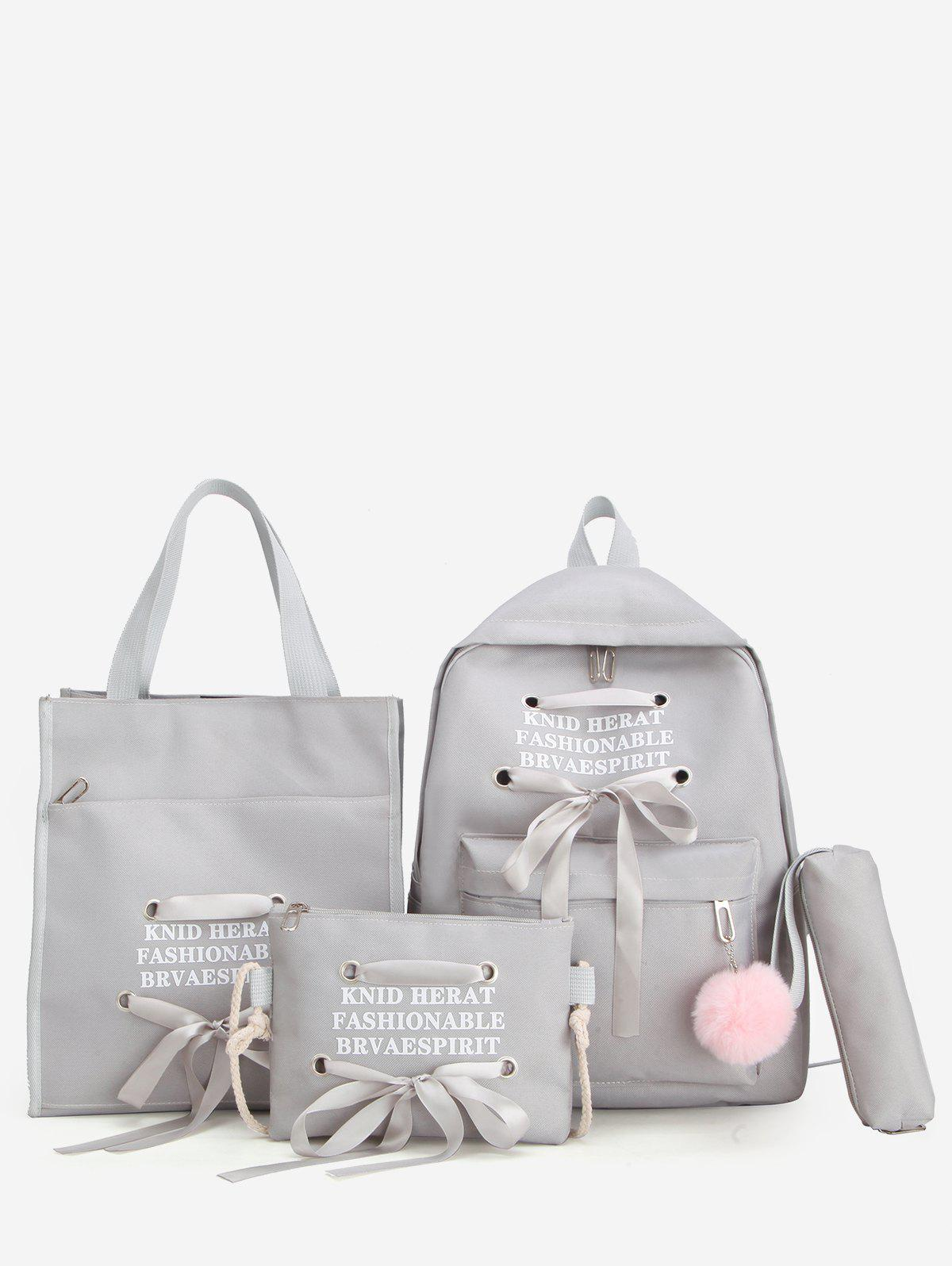 Store Fuzzy Ball Pendant Ribbon Bowknot Four Pieces Backpack Set