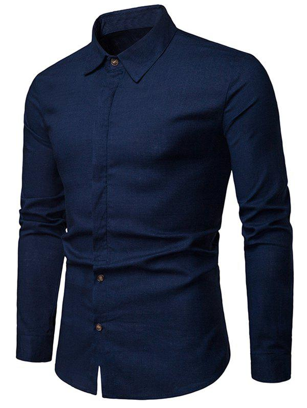 Affordable Solid Hem Curved Breathable Long Sleeve Shirt