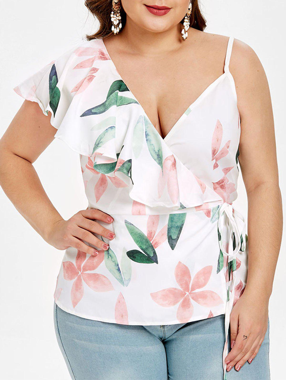 Hot Floral Print Plus Size Ruffle Trim Tank Top