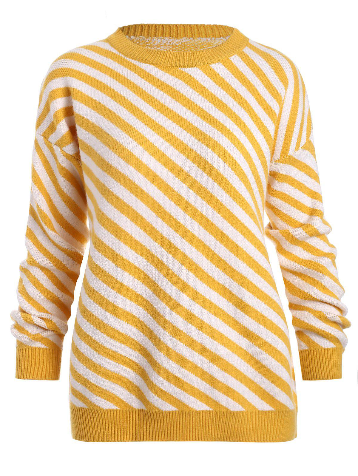 Outfits Crew Neck Drop Shoulder Stripe Sweater
