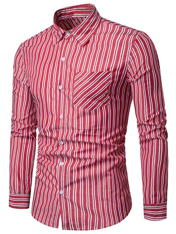 New Vertical Stripe Print Long Sleeve Casual Shirt