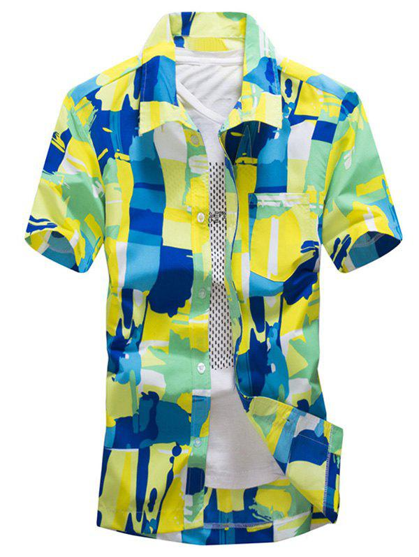 Colorful Abstract Painting Print Short Sleeves Shirt