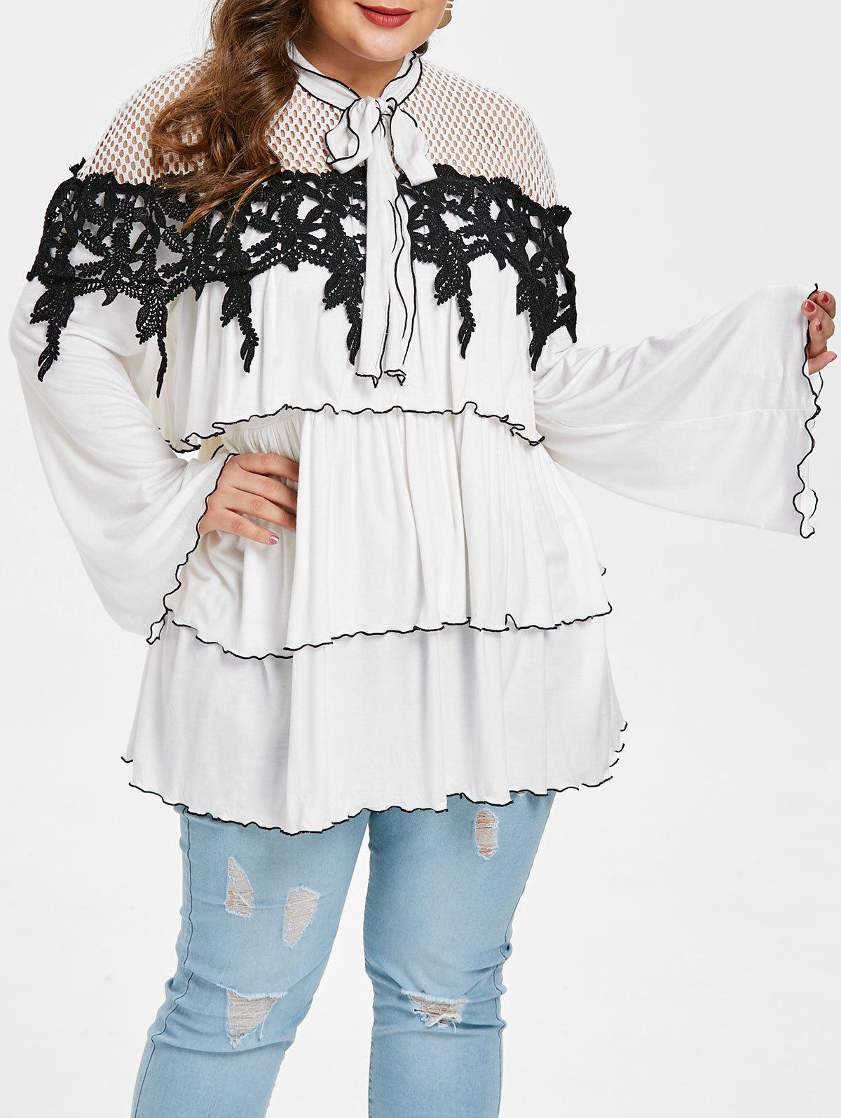Shop Plus Size Tie Collar Hollow Out Blouse