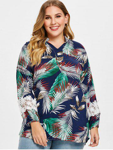 Plus Size Lace Panel Leaves Print Blouse