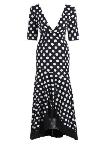 Polka Dot Deep V Neck Dress