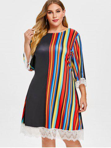 Lace Panel Plus Size Striped Casual Dress