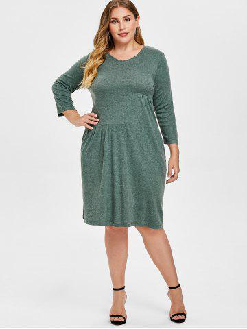 Plus Size  V Neck Knee Length Dress